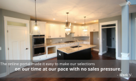 "Picture of a custom kitchen with testimonial overlay stating: ""The online portal made it easy to make our selections on our time at our pace with no sales pressure."" - Mark V."