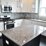 Featuring speckled gray granite countertop
