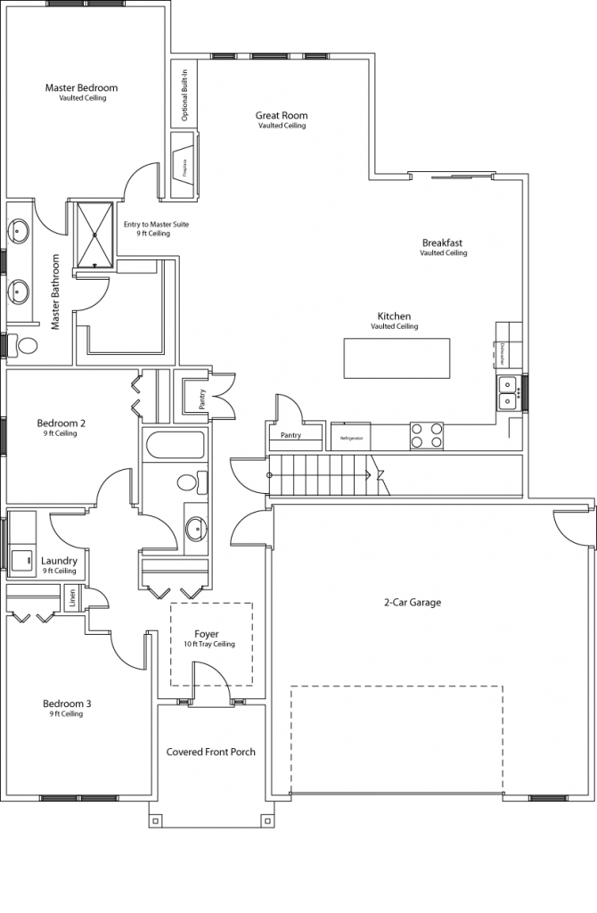 One-story (ranch) style floor plan