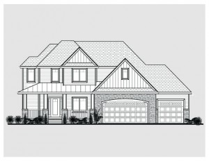 Front elevation of two-story home