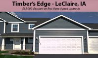 Timber's Edge in LeClaire, IA offering $15,000 discount on first three signed contracts.