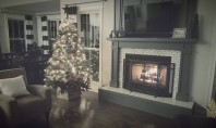 cozy fireplace burning with a Christmas tree lit next to it.