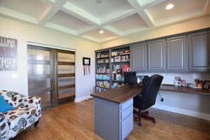 Office with slate cabinets