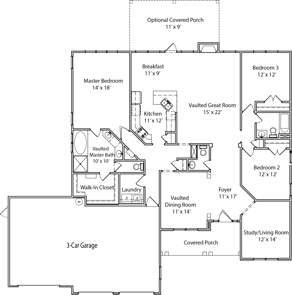 First floor of a ranch home with split-bedroom layout