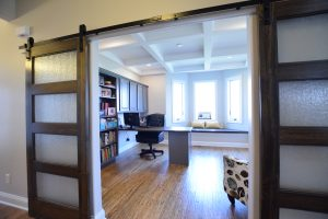 Home office with barn doors