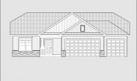 front elevation line drawing for a ranch home